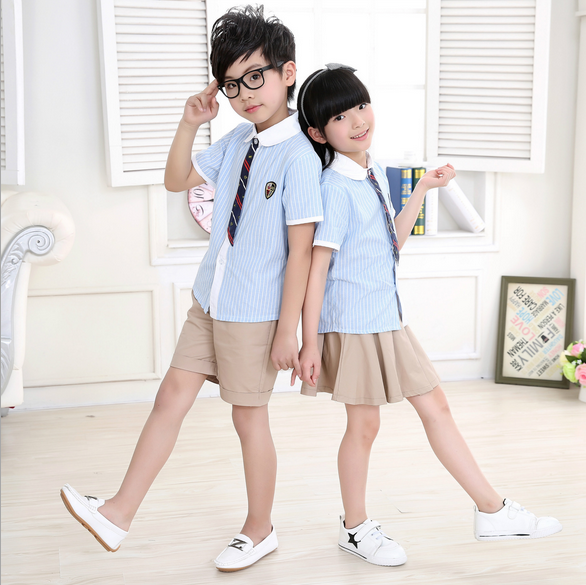 2016 Wholesale hot sale boys and girls' school uniform designs for children  and teen,blue T-shirt and khaki pants or skirt
