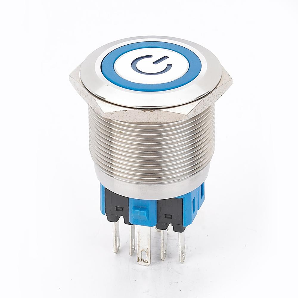 6Pin 25mm Metall Edelstahl Wasserdichte Momentary Doorebll Glocke Horn LED Push Button Switch Auto Auto Motor Starten PC power