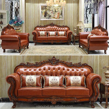 Vendome Victorian Brown Genuine Leather Sofa With Carved Wood Accents View V P Product Details From Shenzhen Viael Furniture Co