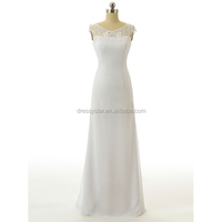Elegant Simple Design White A line chiffon beach wedding dress bridal without train