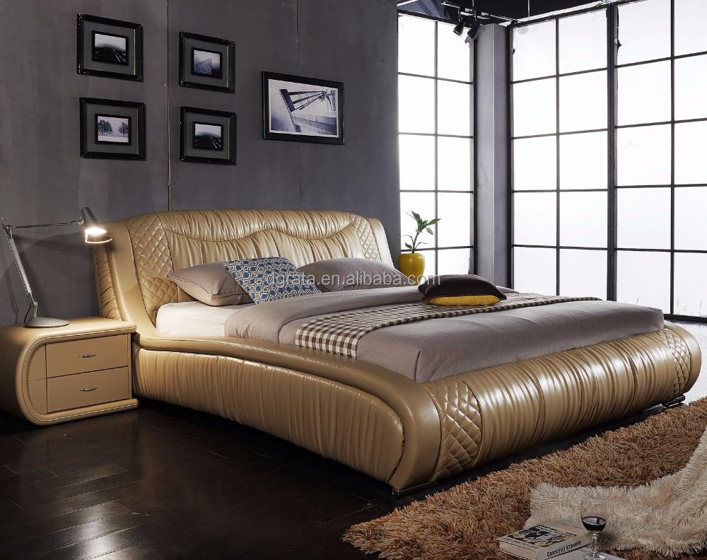 2018 golden royal modern genuine leather bed for bedroom furniture