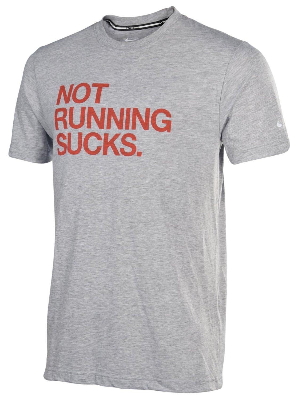 f3b9739c Get Quotations · Nike Men's Dri-Fit Not Running Sucks Running Shirt-Heather  Gray-XL