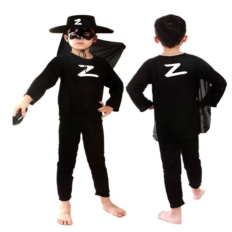 Zorro Kids Party Cosplay Costumes Halloween Gift For Girls Boys Clothes Children's Sets Wholesale