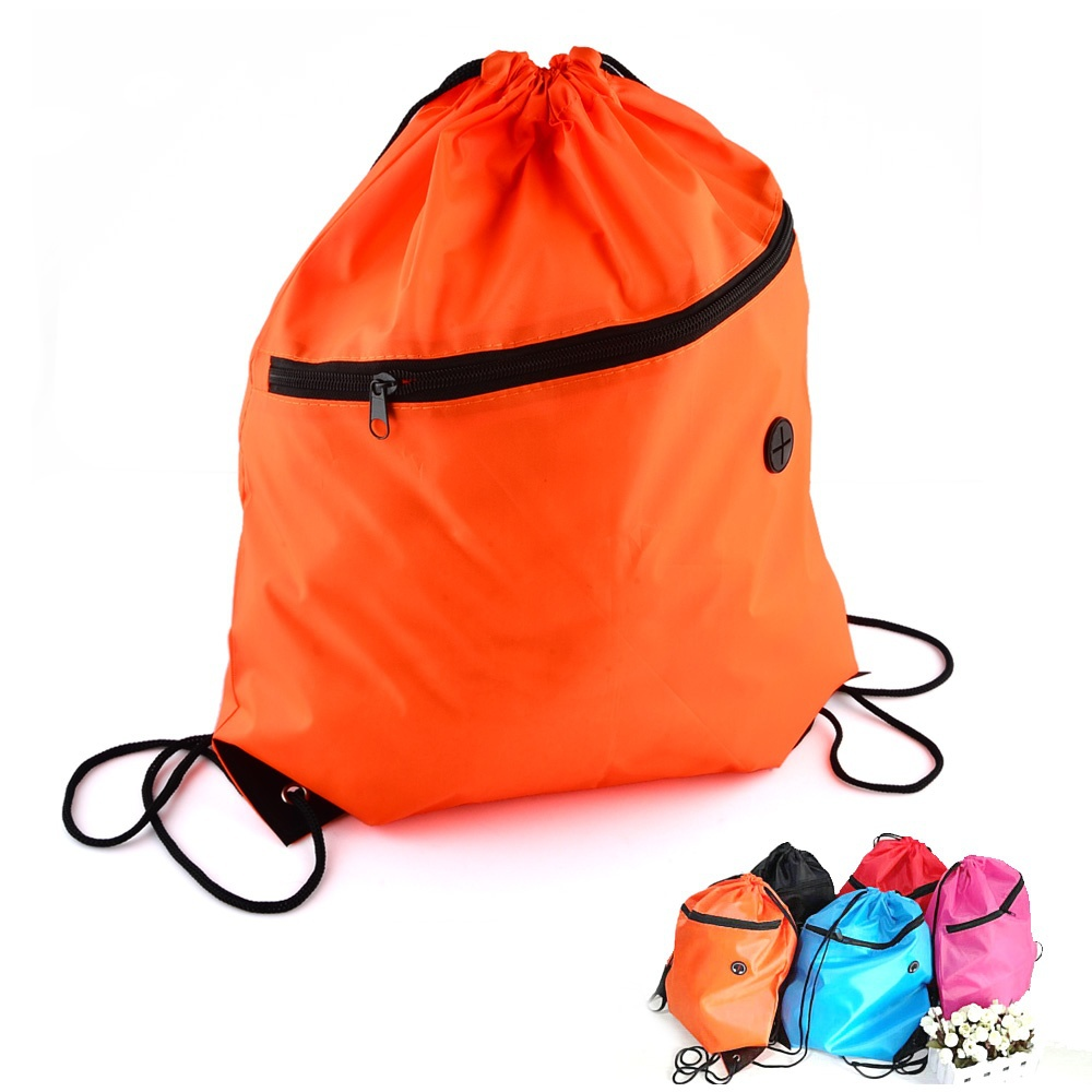 f79a8b516cba Get Quotations · Fashion Outdoor Sports Polyester Drawstring Backpack Bag  with Front Zipper Pocket   Headphone Port