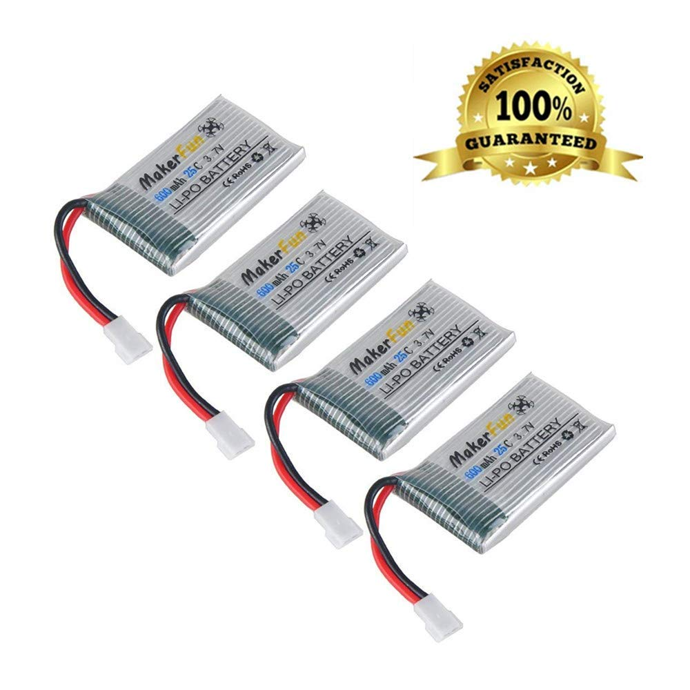 Makerfun 4pcs 1s 3.7v 600mAh 25c Lipo Battery Parts for Syma X5A X5C F5C Cheerson CX-30 CX-31 RC Quadcopter Drone Parts
