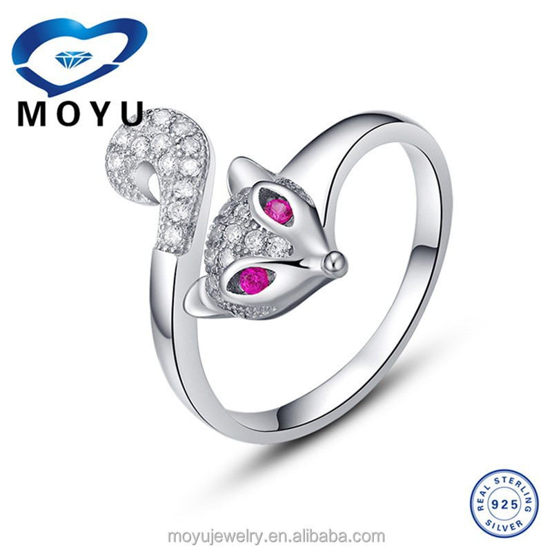 Adjustable Girl Engagement Fox Ring with top quality cz zircon mix color