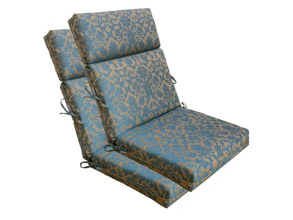 Bossima Indoor/Outdoor Blue/brown Damask High Back Chair Cushion, Spring/Summer Seasonal Replacement Cushions.Set of 2,Spring/Summer Seasonal Replacement Cushions.