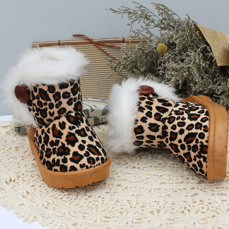 2017 Thick Warm Leopard Girls Shoes Plush Insole Children Boys Snow Boots  Kids Shoes Winter Children Girls Boots-in Boots from Mother & Kids on