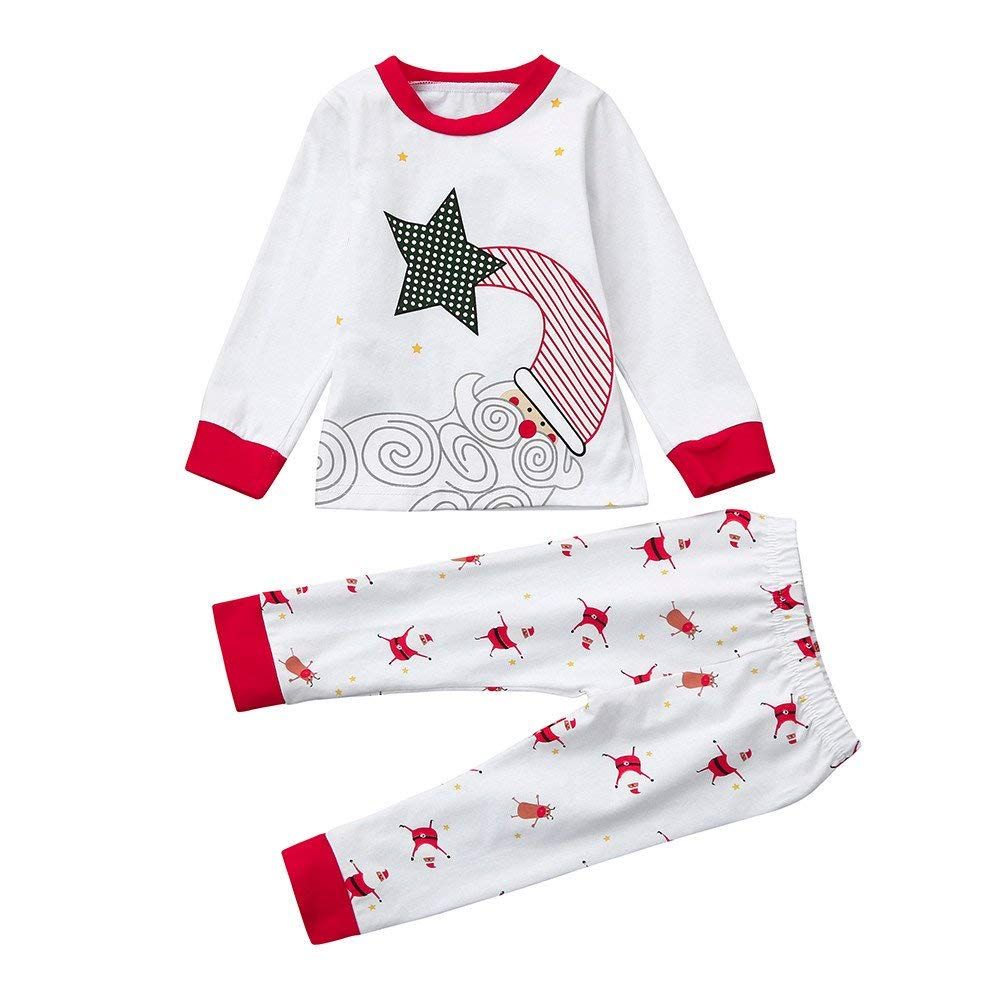 WARMSHOP 2PC Christmas Clothes Kids Boys Girls Snowman Letter Print Pullover Tops+Stripe Pants Pajamas Cotton Outfits