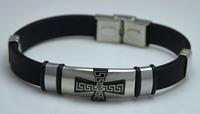 Men's Cool Resurrection Religion black Silicone bracelet Accessory Stainless Steel Cross Christian Bracelets Wholesale