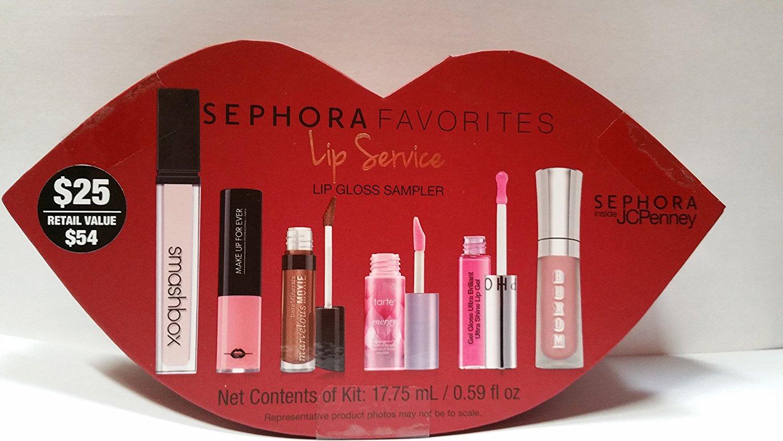Sephora Favorites Lip Service Lip Gloss Sampler Smashbox, Buxom, Make up for Ever, Bareminerals, Tarte, Sephora