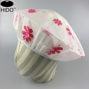 Customized printed single layer reusable PEVA plastic shower caps