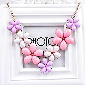 Pink-2 - Fashion Crystal Flower Choker Chunky Statement Bib Necklace Charm Chain Pendant