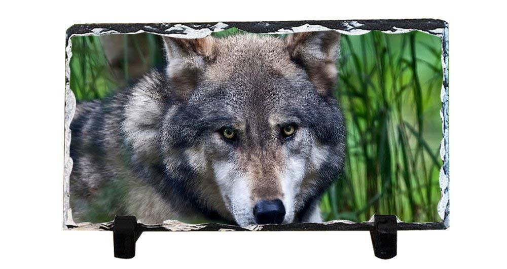 DKLZY Personalized Gifts Personalized Picture Frames Photo Rock Slate Wolf Photo Plaque Customized Photo Plaque