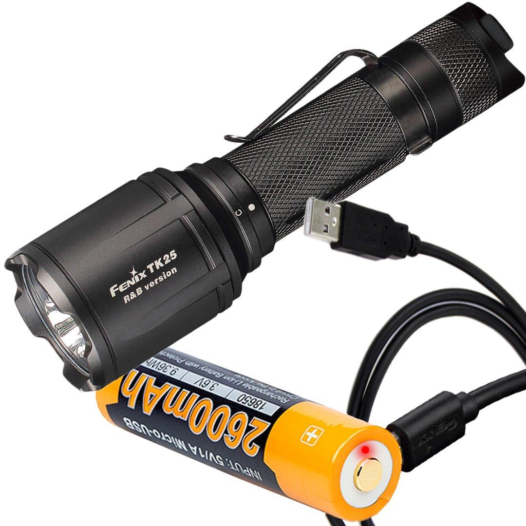 Fenix TK25 R&B 1000 Lumen Multi-Color White Red & Blue LED Tactical Flashlight with Fenix ARB-L18-2600U 2600mAh Built-in Micro-USB Port 18650 Battery & LumenTac Charge Cable