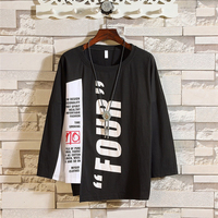 Autumn New Design Fashion Hip Hop Loose Casual Long Sleeve Men T-Shirt