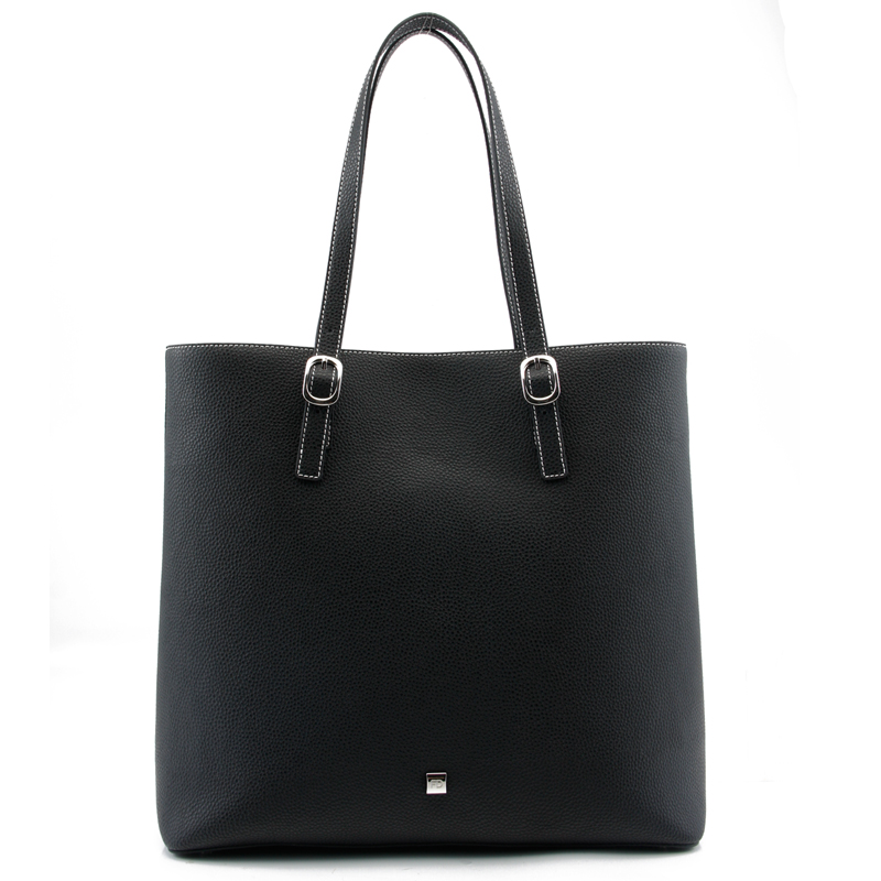 CSS2038-001 black pebble cow leather with white stitching women leather shoulder tote bag