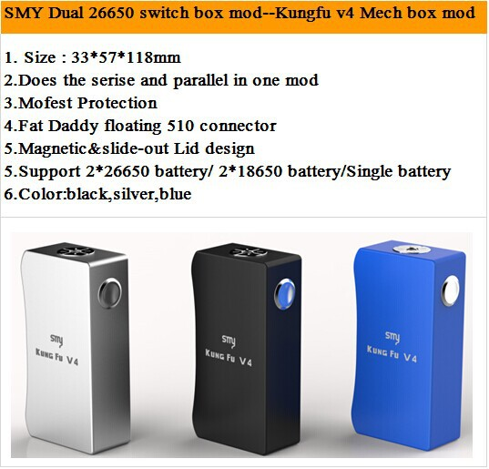 unregulated box mod smy kung fu mod v4 parallel series switch dual 18650 dual 26650 buy. Black Bedroom Furniture Sets. Home Design Ideas