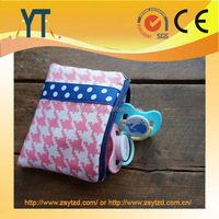 Pacifier Zipper Bag - Pink Checks and Navy Dots,, Baby Pacifier Pod, Coin Purse