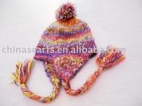 fashion ear flap acrylic hat with pompon