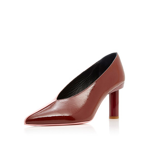 Special design tow colour patent leather pointed toe middle heel lady dress shoes