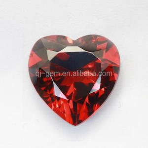 Wholesale Heart Shape Jewellery Loose Zirconia Red Color CZ Stone