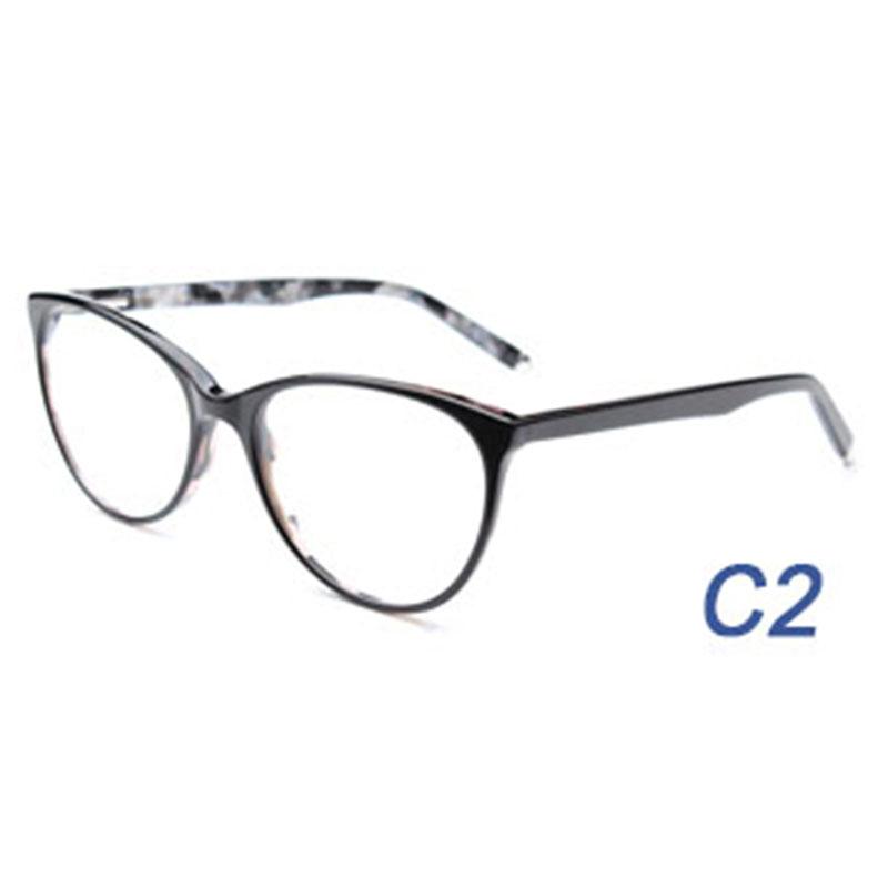 Las mujeres acetato marco óptico puntas de metal grande del ojo de ...