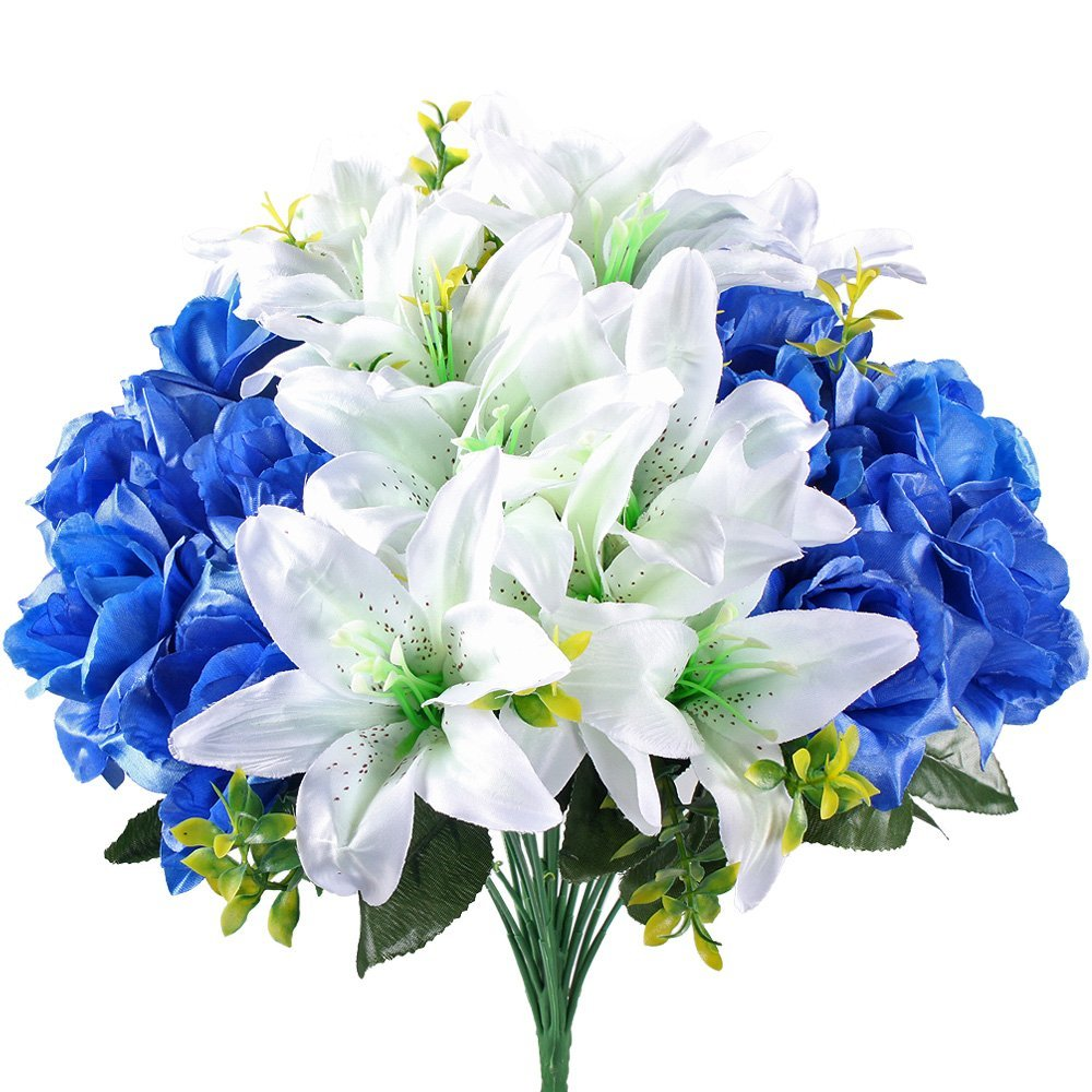 Cheap white lily flower bouquet find white lily flower bouquet get quotations hogado aritificial faux silk mixed rose lily large flower bouquet spary plant arrangements home garden table izmirmasajfo