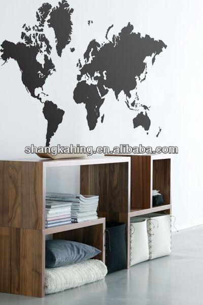 amovible carte du monde mur de vinyle decal autocollant. Black Bedroom Furniture Sets. Home Design Ideas