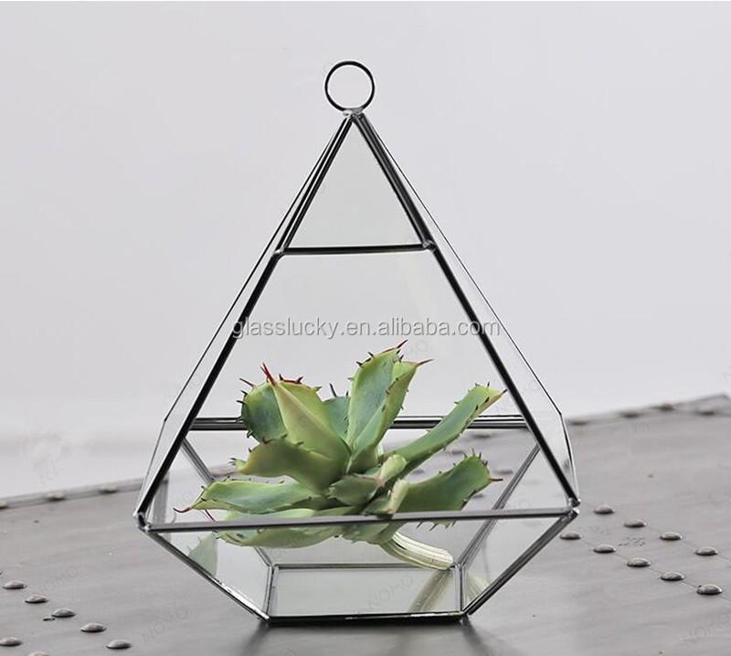 Hanging Terrarium Large Teardrop Geometric Stained Glass Succulent