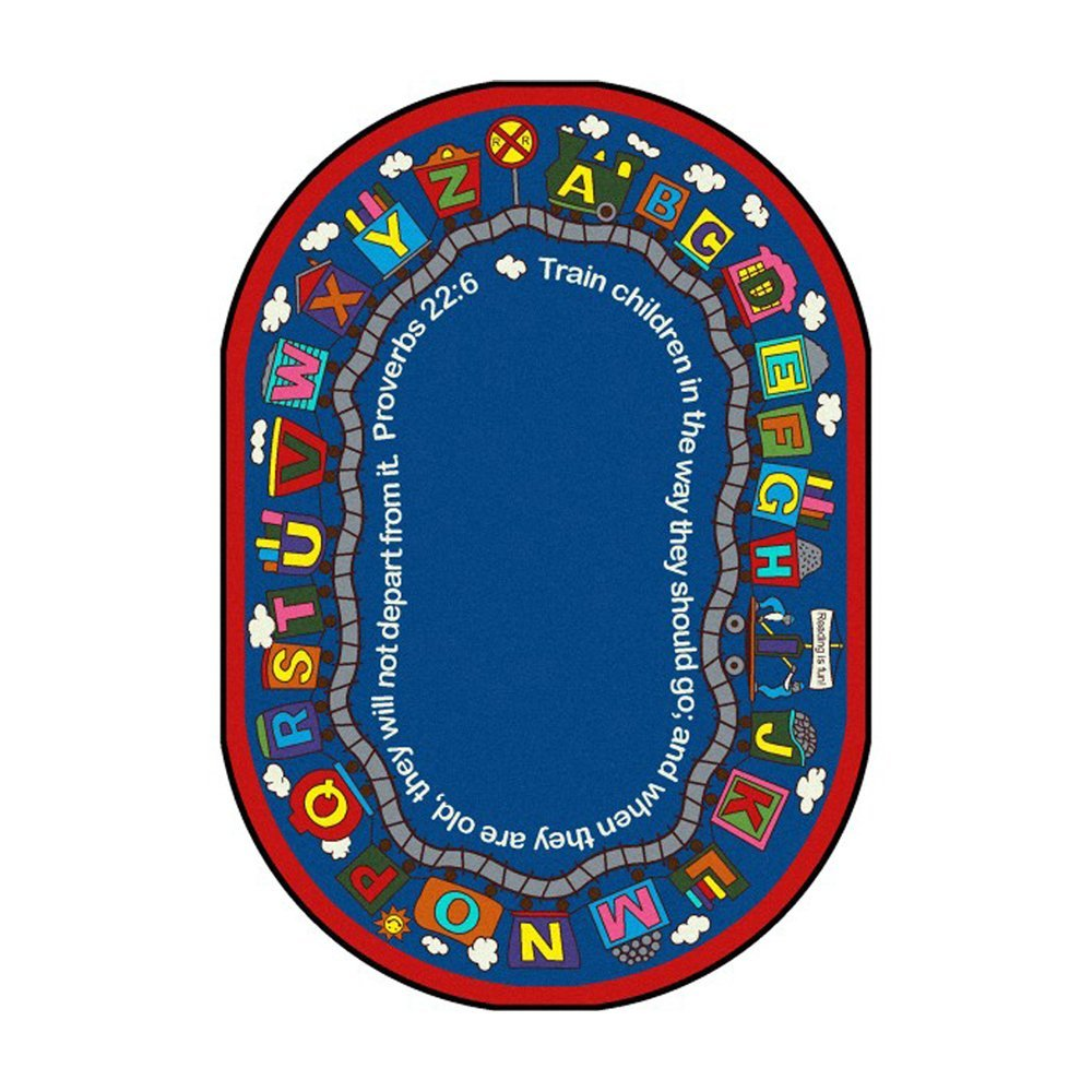 "Kid Essentials - Inspirational Area Rugs Bible Train Rug - 5'4"""" x 7'8"""" Oval - Multi Toys Christmas Gift"