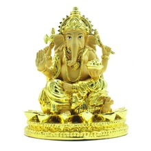 Ganesh (Ganesha) Hindu Elephant God of Success. Good Protection. Golden Powder Mixed with Resin - Finish with Color gloden