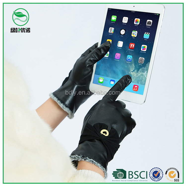 Genuine black leather touch screen gloves women guantes de winter fashion dressing leather gloves