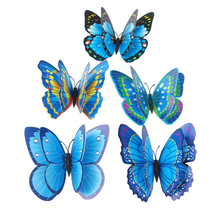 Butterfly Wall Stickers Double Layer 3D Butterflies colorful bedroom living room Home Fridage Decor 12pcs/lot 4 color DA