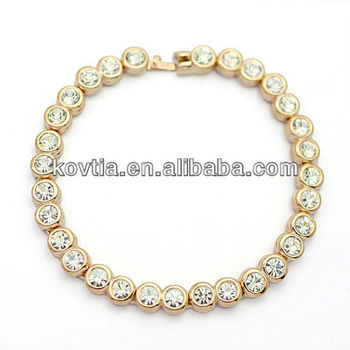 Charm Bracelet For Christmas 18 Carat Gold Plated White Crystal Beaded Bracelets