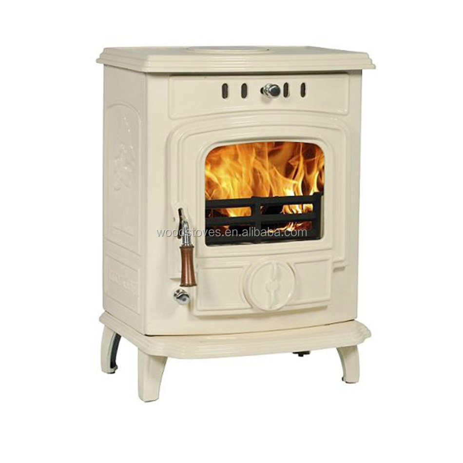 Light And Handy Exquisite Cream Enamel Cast Iorn Wood Burning Fireplace