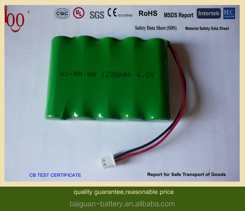 rechargeable batteries Ni-MH AA 1200mAh 6V battery pack industrial batteries