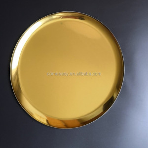golden color stainless steel round 28CM dish for makeup perfume