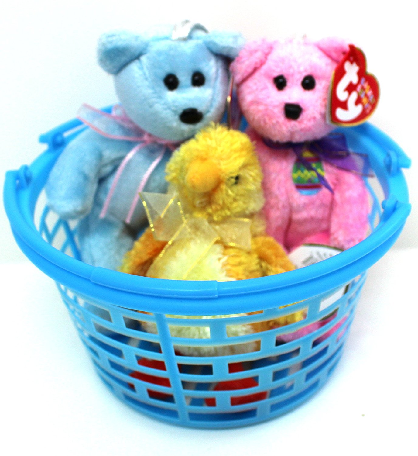 Easter Basket of 3, Adorable ty Basket Beanies - Just in time for Easter - All part of the Basket Beanie Collection - Bunny, Bear, or Chick (beanie and color chosen at random)