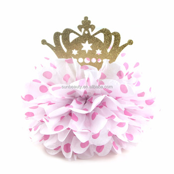 Polka Dot Tissue Paper Pom Pom With Glitter Crown Table Centerpiece Hanging  Decorations For Birthday Girl