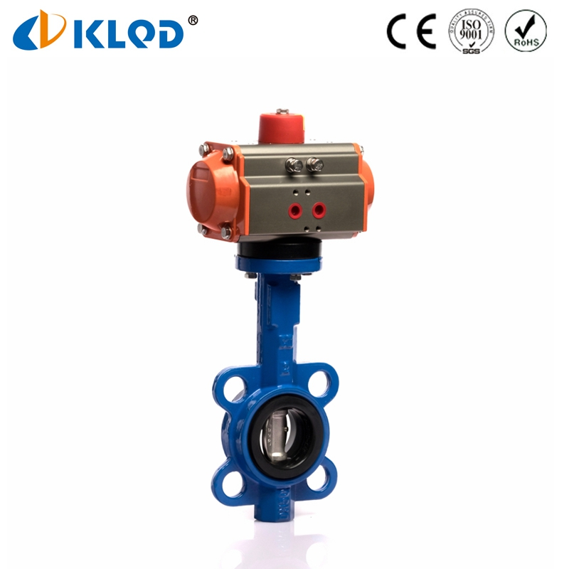 Pneumatic Power EPDM Sealing Lembut Cast Iron Body Wafer Butterfly Valve