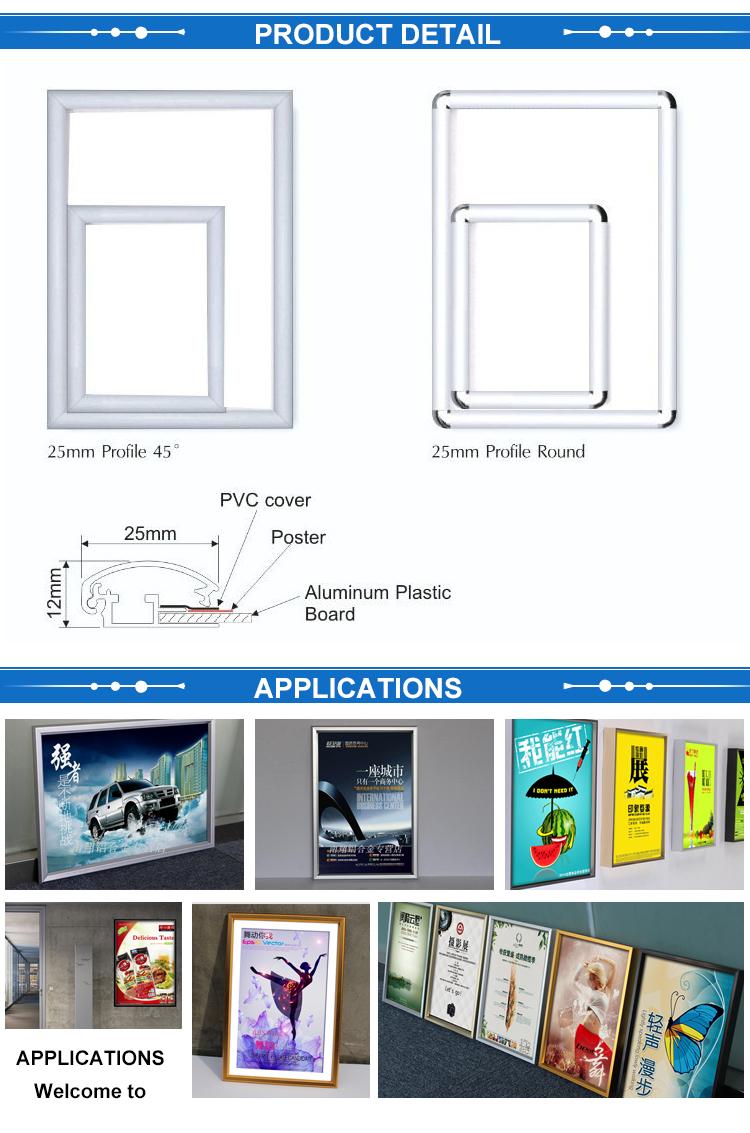 전문 Manufacture snap 프레임 싼 A0 A1 A2 A3 A4 포스 테 snap 프레임 25 미리메터