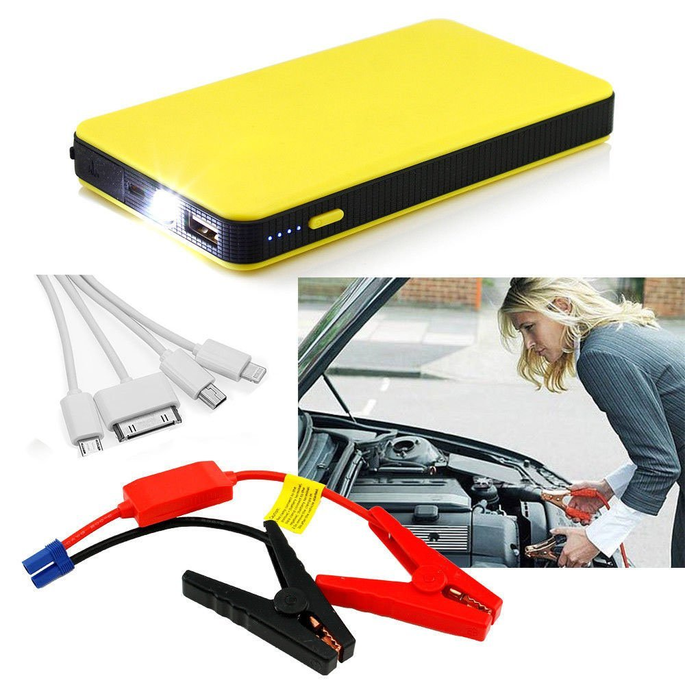 RDT 12000mAh 400A Peak Mini Size Car Jump Starter Portable Power Bank External Battery Charger Ultra-thin Emergency Auto Jump Starter Laptop Smart Phone USB Device with LED Flashlight(Yellow)