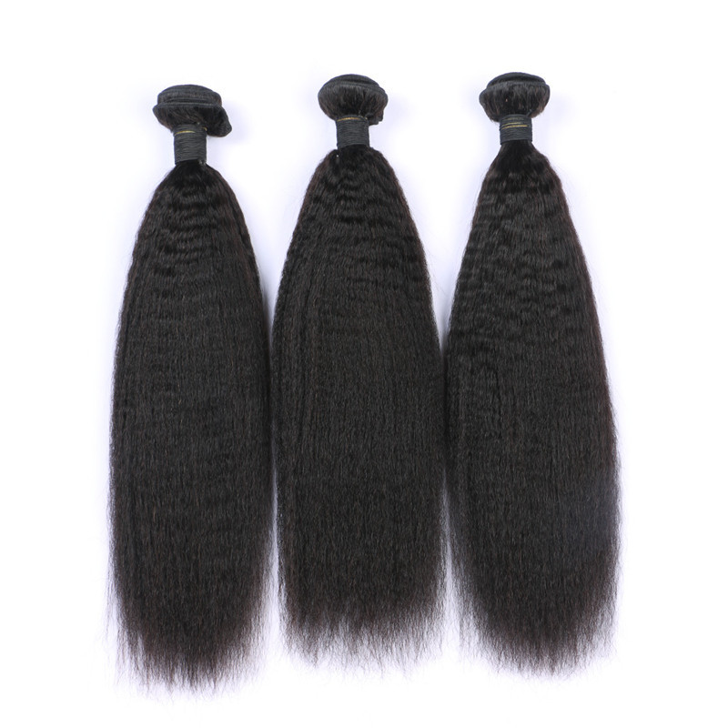 European Virgin Hair Extensions 3pcs lot Natural Kinky Straight Yaki Human Hair Weaving
