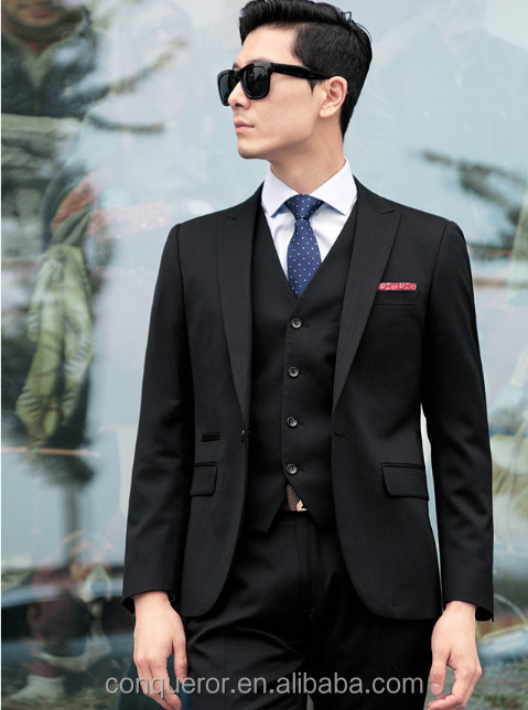 Tailor Made Men 3 Piece Black Dress Suits Trendy Design - Buy ...