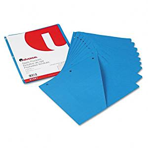 Universal Products - Universal - Slash-Cut Pockets f/3-Ring Binders, Jacket, Letter, 11 Pt., Blue, 10/Pack - Sold As 1 Pack - Three-hole punched pockets hold loose papers within binders. - Double as dividers. - Die-cut storage pocket holds a diskette or CD. - 11 pt. stock. -