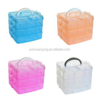 3 Layer 18 Compartments Clear Plastic Storage Box With Dividers
