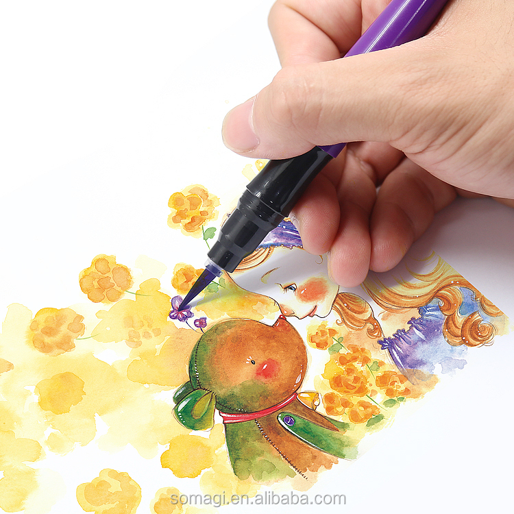Non-toxic Brush Tip Water Color Marker for chidren