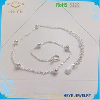 Heye Women Single White Silver Beautiful Bead Chain Anklet Ankle Bracelet