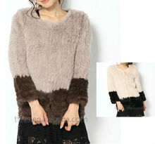TT503 Genuine rabbit fur bicolor knitted jacket for women